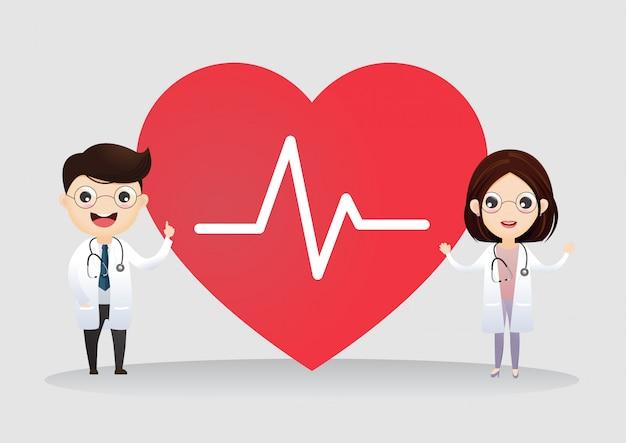 Couple of professionals doctors with heart cardio Premium Vector