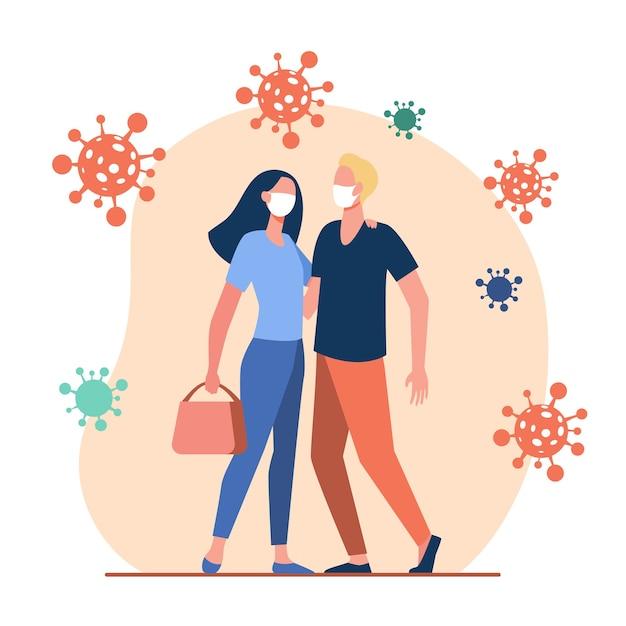 外のコロナウイルスから保護するカップル。男と女のマスクを身に着けているとフラットベクトルイラストを抱き締めます。 covid、エピデミック、保護 無料ベクター