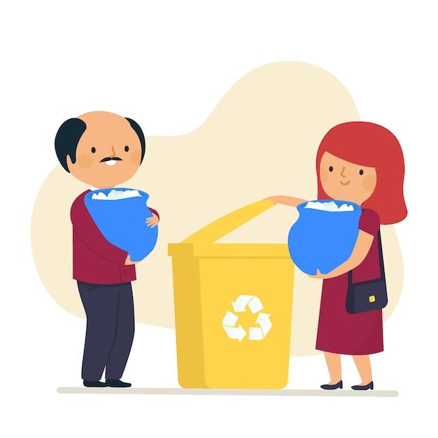 製品を一緒にリサイクルするカップル 無料ベクター