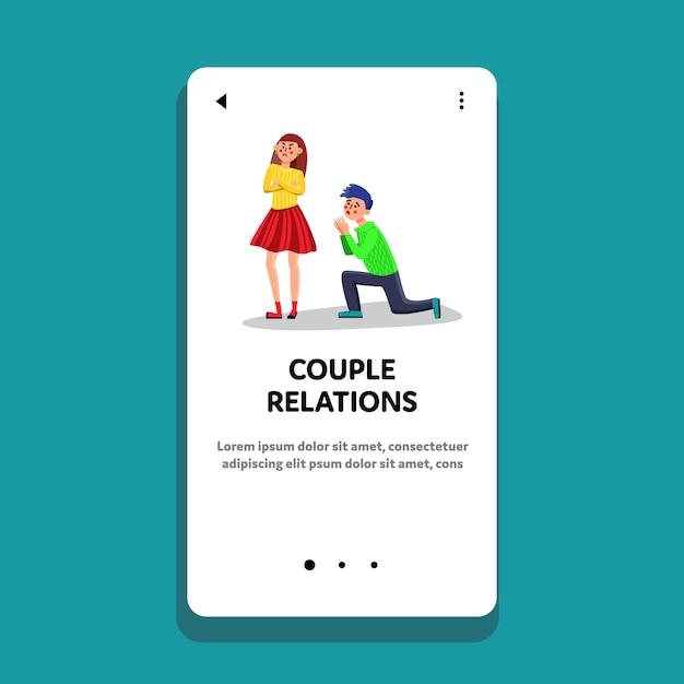 Couple relations man apologizing woman Premium Vector