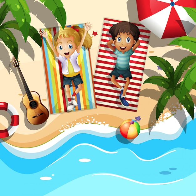 A couple relaxing at the beach Premium Vector