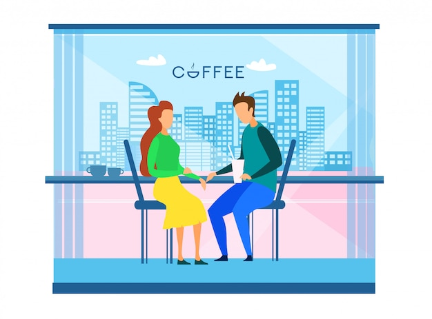 Couple resting at cafe in modern smart city vector Premium Vector