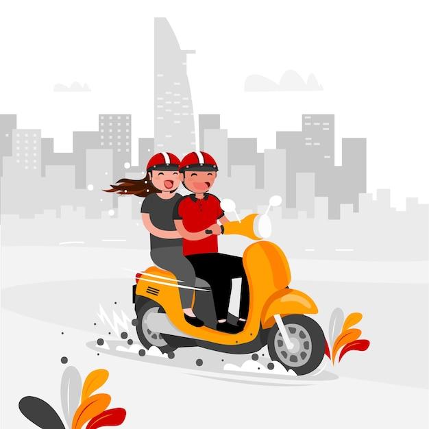 The couple ride bike around the city Premium Vector