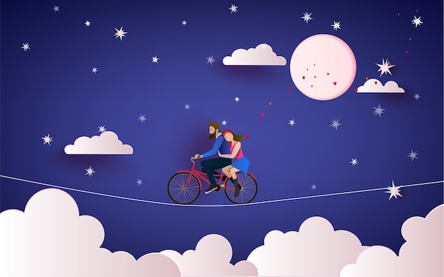 A couple riding bicycle to the night sky Premium Vector