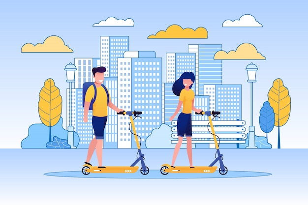 Couple riding scooters in park or green area. Premium Vector