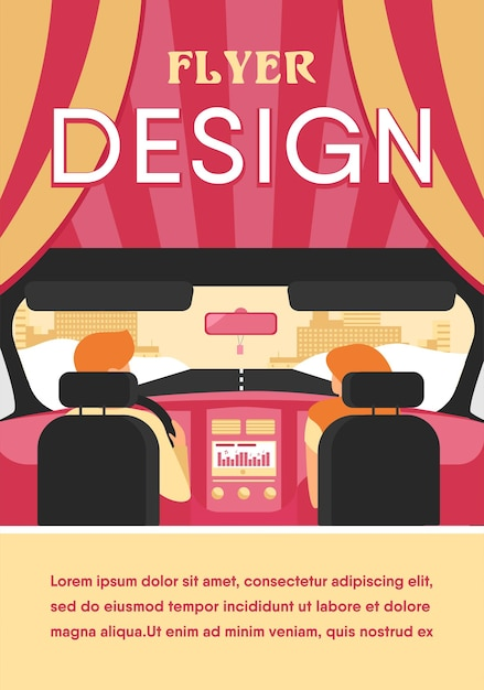 Пара верхом на автомобиле. вид сзади водителя и пассажира внутри салона автомобиля. вид с заднего сиденья. иллюстрация для вождения, транспорта, автомобиля, концепции движения Бесплатные векторы