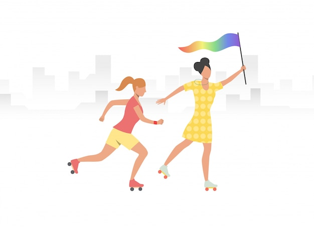 Couple of roller skaters with rainbow flag Free Vector