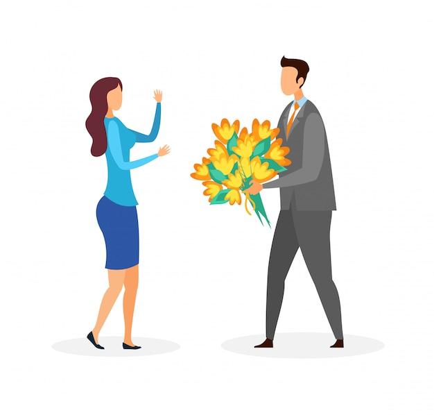 Couple on romantic date flat Premium Vector