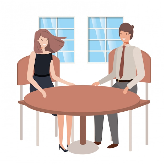 Couple seated in the living room avatar character Premium Vector
