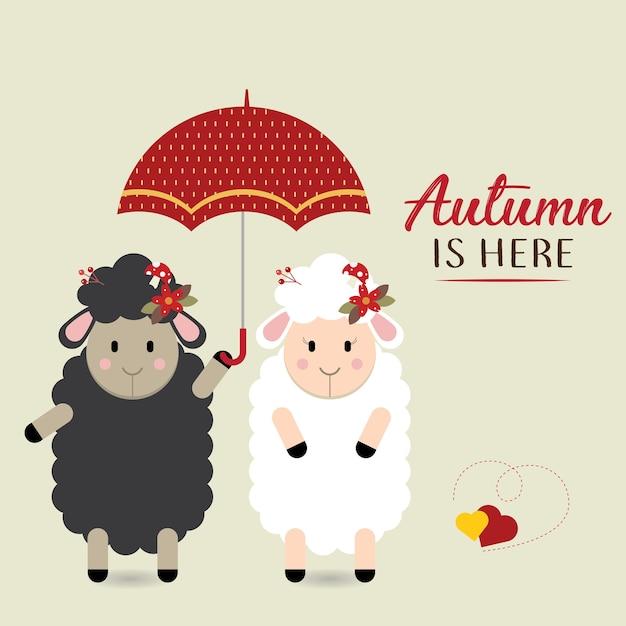 Пара овец под зонтиком Premium векторы