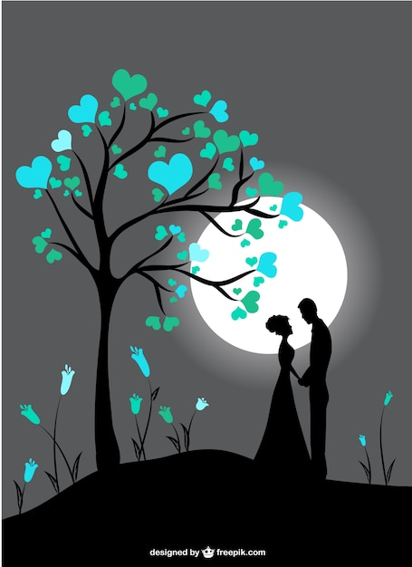 Couple silhouettes in moon light Free Vector