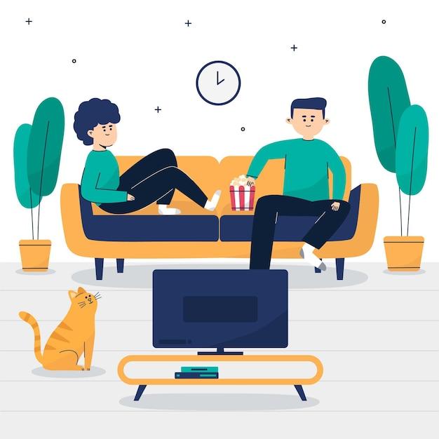 Coppia seduta sul divano e guardare un film Vettore gratuito
