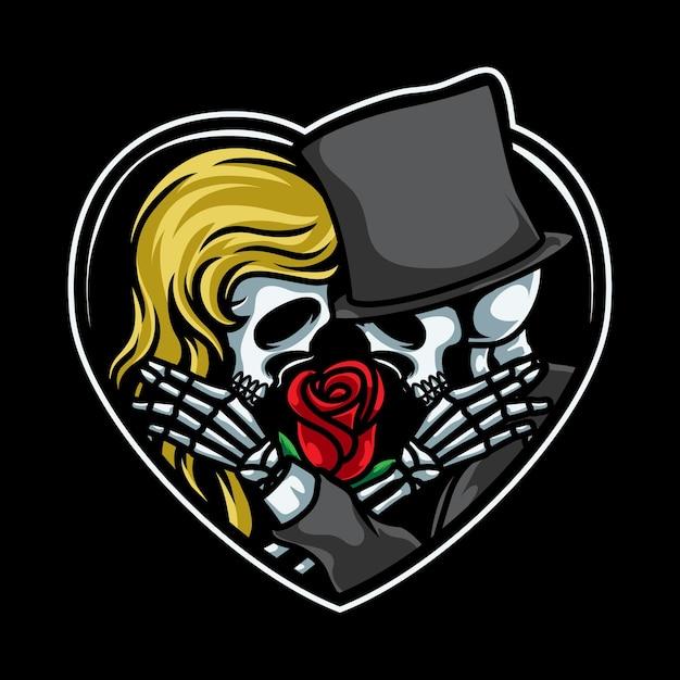 カップルの頭蓋骨のロマンチックなイラスト Premiumベクター