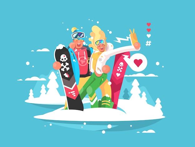 Пара сноубордистов, мальчик и девочка, делают селфи на смартфоне. иллюстрация Premium векторы