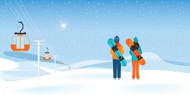 Пара сноубордистов, стоящих со сноубордами. Premium векторы