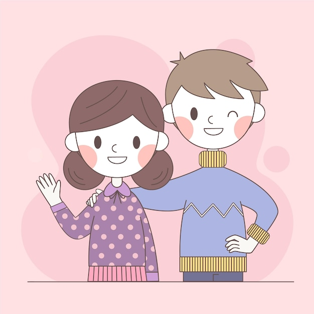 Couple standing together and smile Free Vector