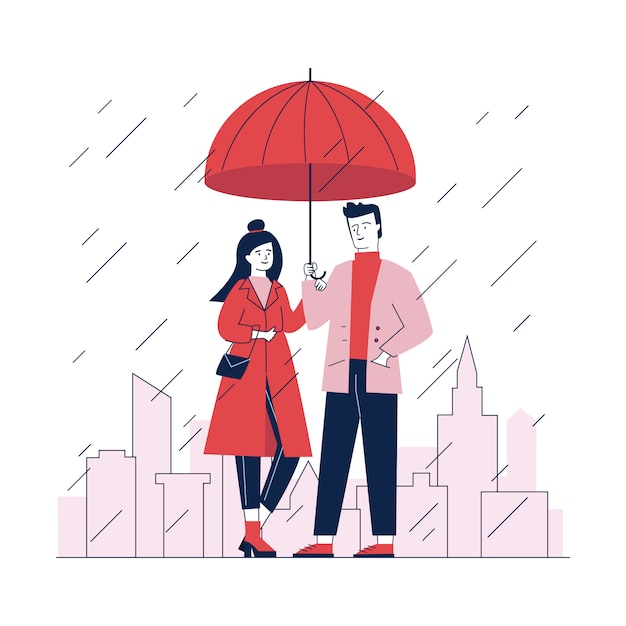 雨のdaの通りに傘の下でカップルに立って 無料ベクター