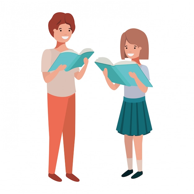 Couple of student with reading book in the hands Free Vector