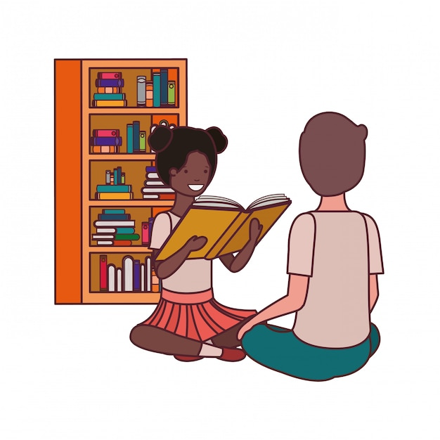 Couple of student with reading book Free Vector