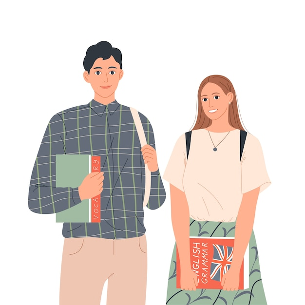 Couple of students with books are standing next to each other. learning english, education. Premium Vector