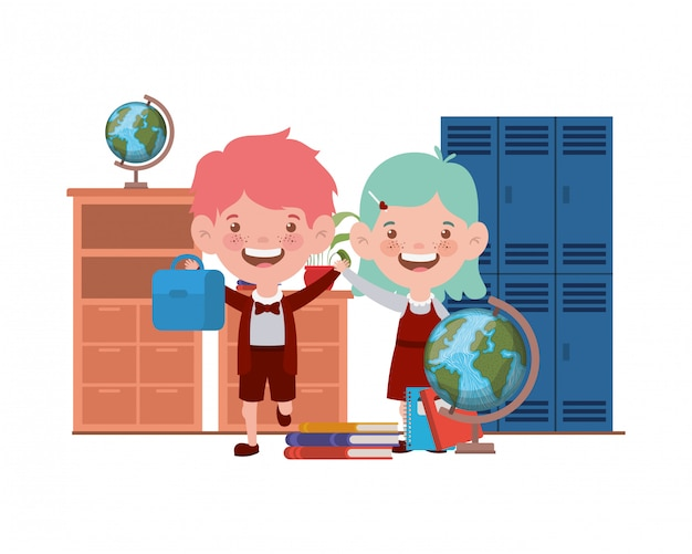 Couple of students with school suppliesin the classroom Premium Vector