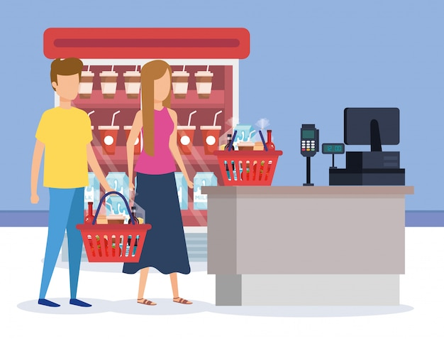 Couple in supermarket refrigerator with sale point Free Vector