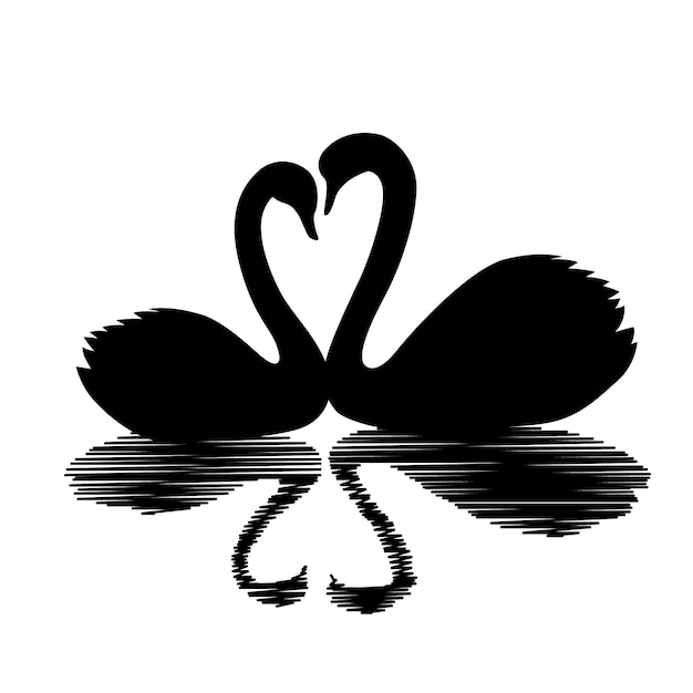 Couple swan silhouette and reflection Free Vector