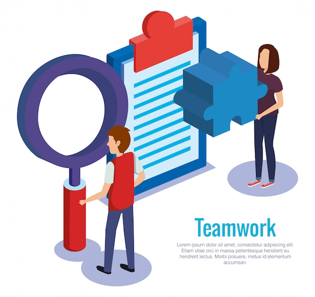 Couple teamwork with checklist Free Vector