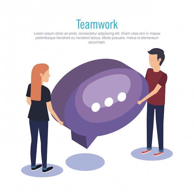 Couple teamwork with speech bubble Free Vector