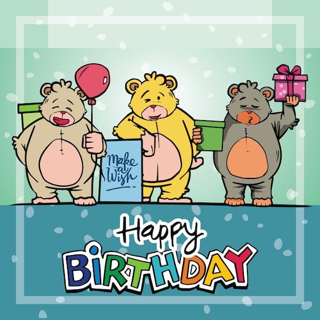Couple teddy bear background card birthday Premium Vector