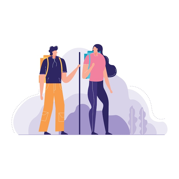 Couple tourist with backpacks vector illustration Premium Vector