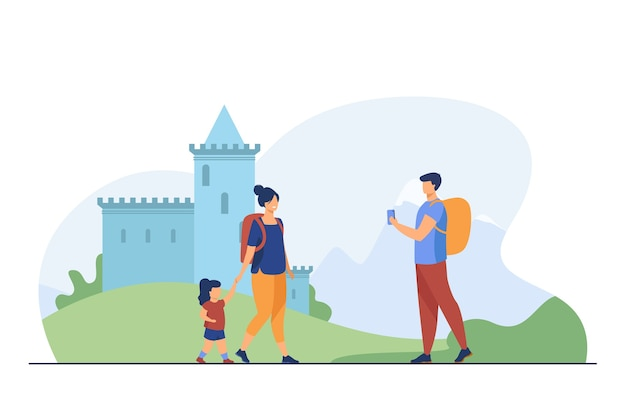 Couple of tourist with kid at landmark. people with backpacks taking pictures at castle flat vector illustration. vacation, family travel concept Free Vector