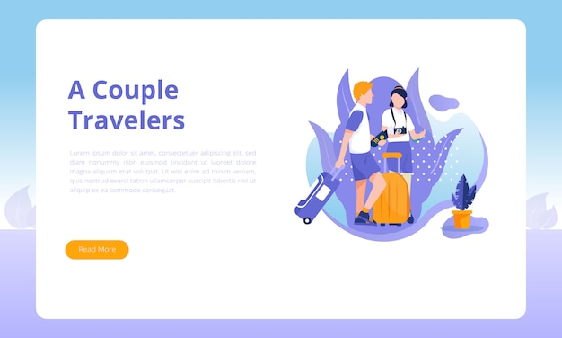 A couple traveler landing page template Premium Vector
