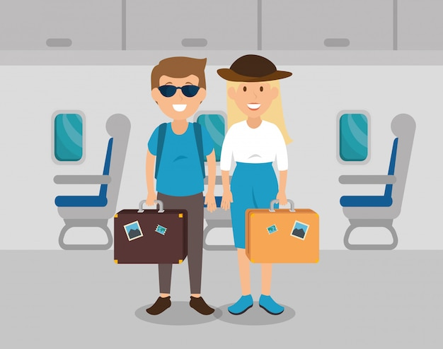 Couple travelers in the airplane Free Vector