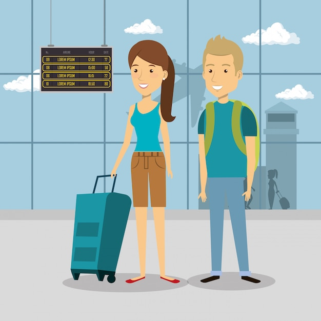 Couple travelers in the airport characters Free Vector