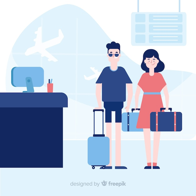 Couple traveling background Free Vector