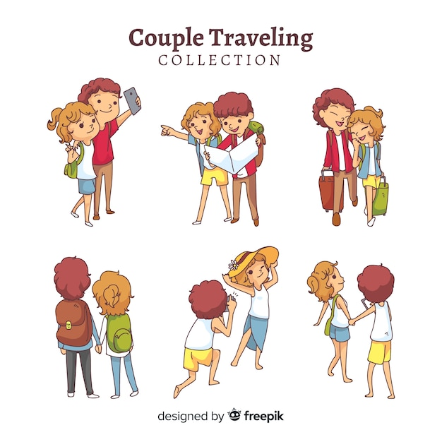 Couple traveling collection Free Vector