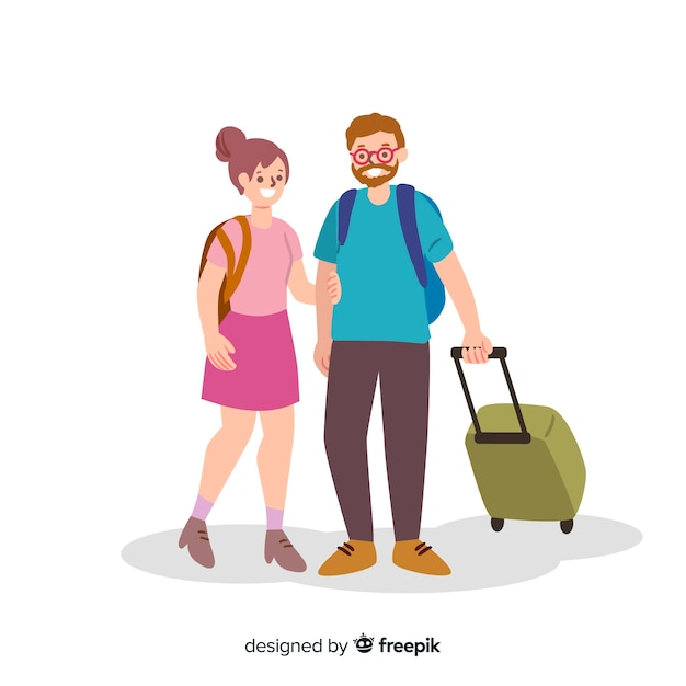 Couple traveling Free Vector
