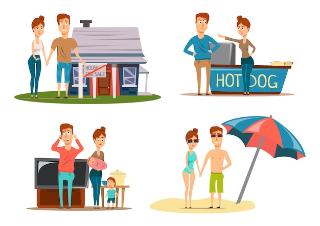 Couple vacation compositions set Free Vector