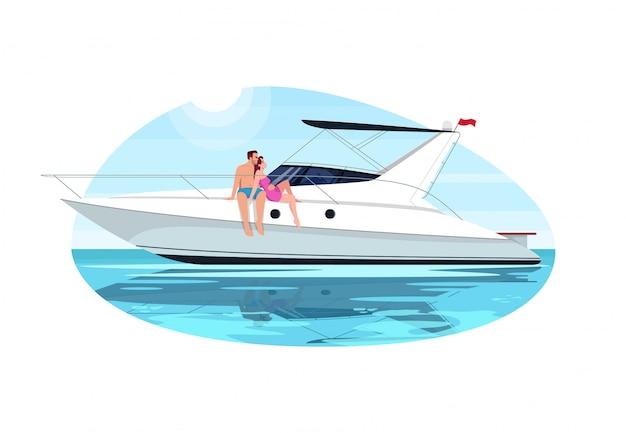 Couple on voyage semi flat   illustration Premium Vector