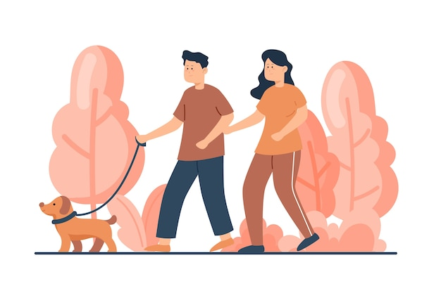 Couple waking together their dog Free Vector