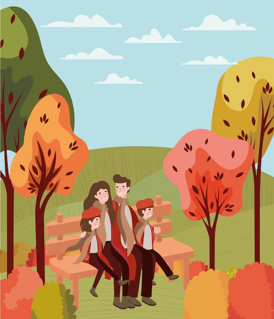 Pleasing Couple Walking With Kids Seated In Park Chair Vector Inzonedesignstudio Interior Chair Design Inzonedesignstudiocom