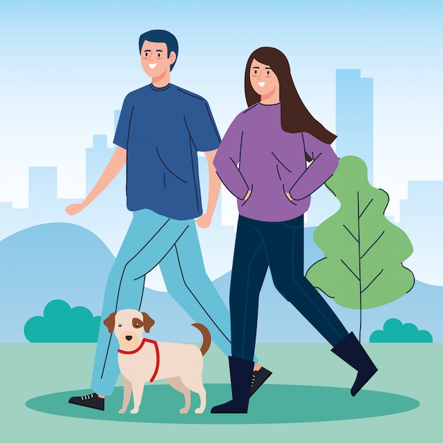 Couple walking your dog in the park Free Vector