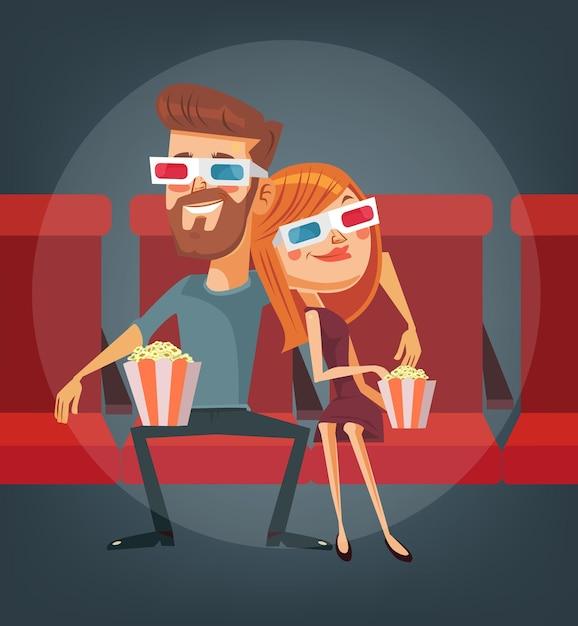 Пара смотрит фильм. мужчина и женщина персонажи. Premium векторы