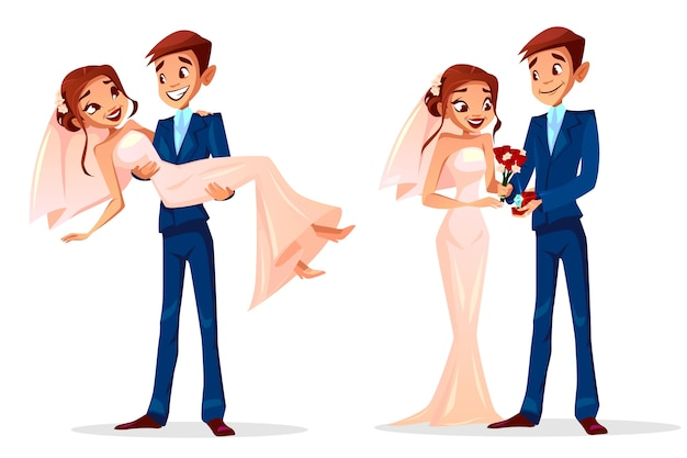 Couple wedding illustration of man and woman just married for greeting card template. Free Vector