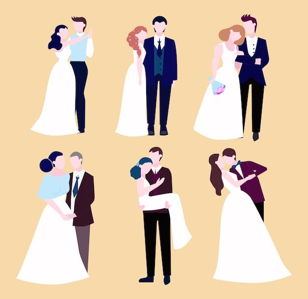 カップルの結婚式セット。花束と新郎の花嫁のコレクション。ロマンチックな人々と式典のための白いドレス。図 Premiumベクター