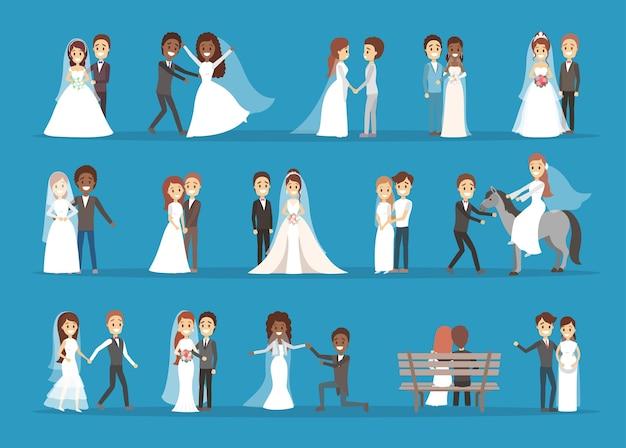 カップルの結婚式セット。花束と新郎の花嫁のコレクション。ロマンチックな人々と式典のための白いドレス。分離フラットベクトルイラスト Premiumベクター