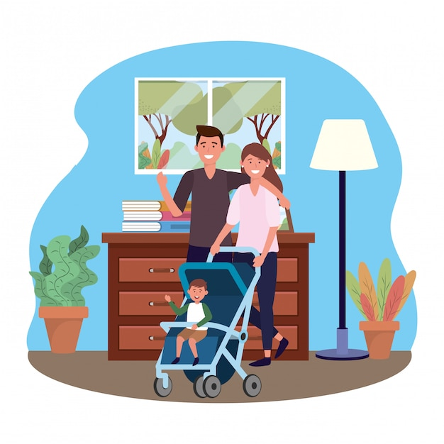 Couple with baby carriage Premium Vector