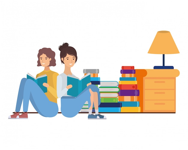 Couple with book in hands in living room Premium Vector