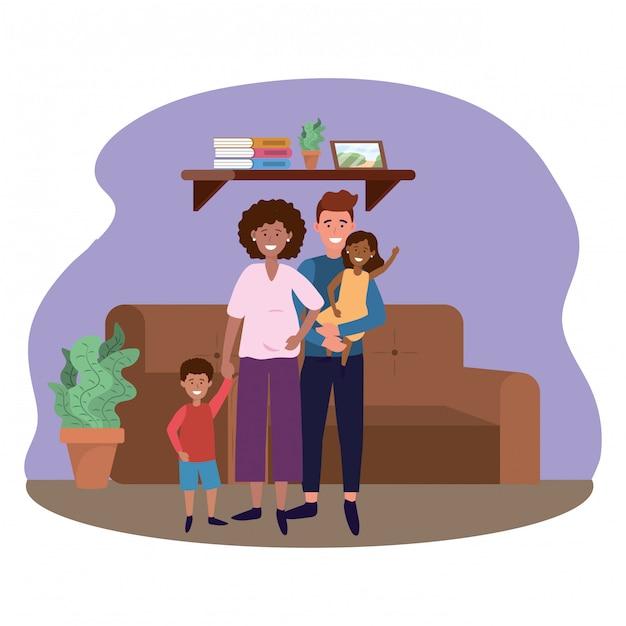 Couple with children Premium Vector